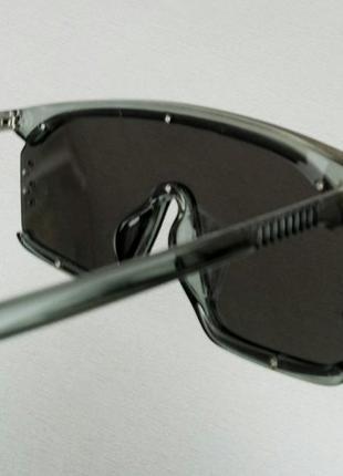 Calvin klein очки маска женские солнцезащитные зеркальные в серой прозрачной оправе4 фото