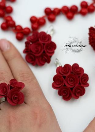 """Cерьги и кольцо """"красные розы"""""""