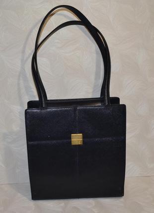 Темно-синяя кожаная сумка yves saint laurent