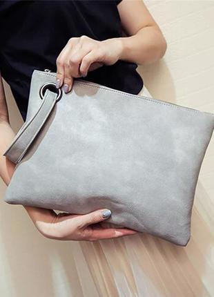 Клатч серый. сумка серая. женская сумка