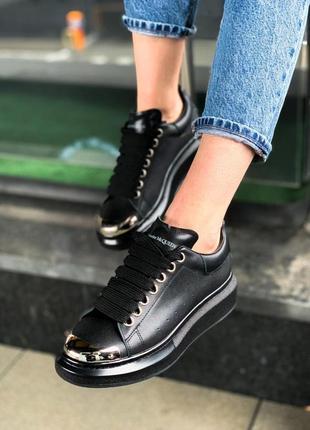 Alexander mcqueen black metal чёрные шикарные женские кроссовки белые