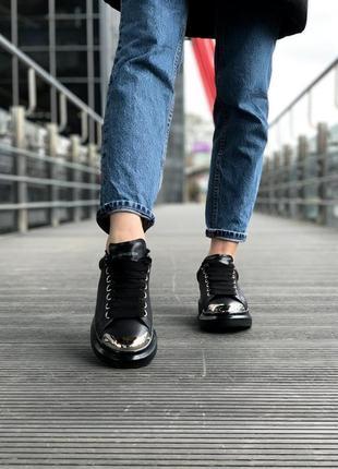 Alexander mcqueen black metal чёрные шикарные женские кроссовки белые4 фото