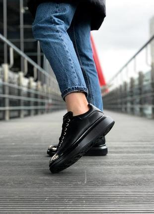 Alexander mcqueen black metal чёрные шикарные женские кроссовки белые3 фото