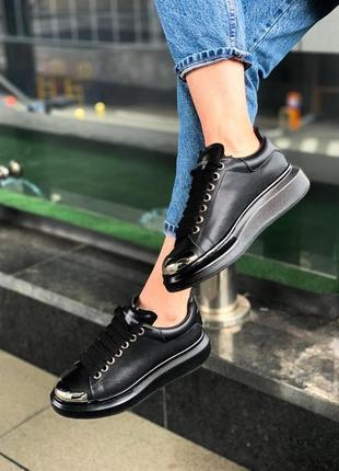 Alexander mcqueen black metal чёрные шикарные женские кроссовки белые5 фото