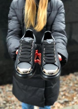 Alexander mcqueen black metal чёрные шикарные женские кроссовки белые10 фото