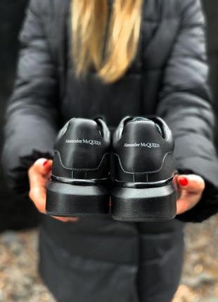 Alexander mcqueen black metal чёрные шикарные женские кроссовки белые9 фото