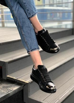 Alexander mcqueen black metal чёрные шикарные женские кроссовки белые7 фото