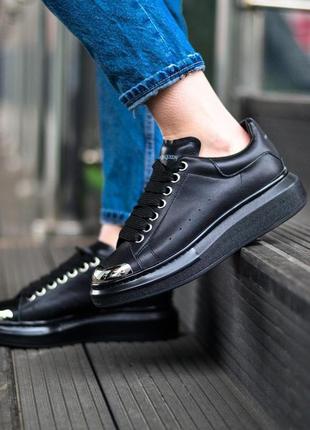 Alexander mcqueen black metal чёрные шикарные женские кроссовки белые6 фото