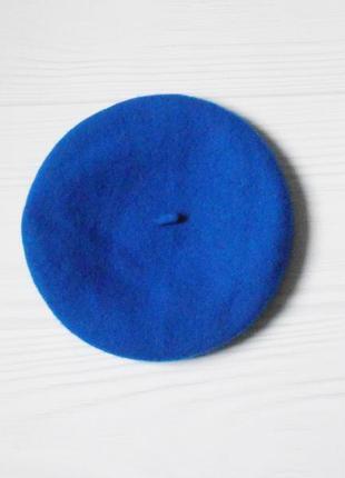 Синий шерстяной берет из фетра  🌺