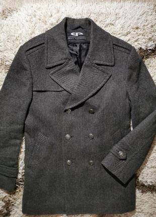 Полупальто пальто шерсть серое гусиная лапка elegant plush