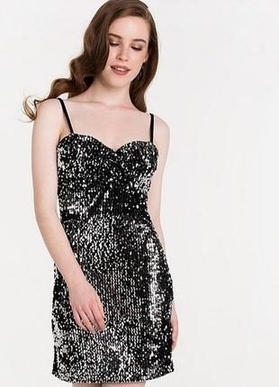 Платье в пайетки zara