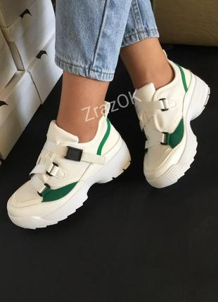 Белые кроссовки кеды ботинки слипоны на платформе с ремешками