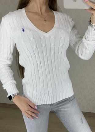 Белый свитер вязаный косами ralph lauren