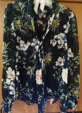 Блуза* блузка*блуза с галстуком*блуза с бантом*  принт цветы