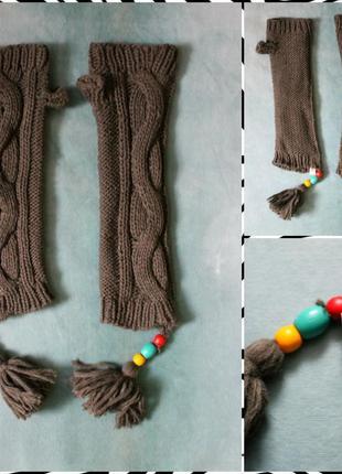 Теплые рукавички-гетры митенки цвета хаки размер универсальный