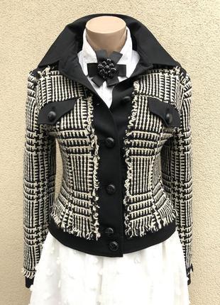 Винтаж,жакет,пиджак,блейзер,куртка,клетка,с бахромой,стиль шанель,шерсть
