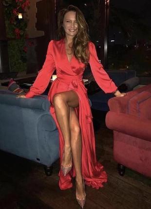 Красное платье вечернее длинное шелковое нарядное выпускной