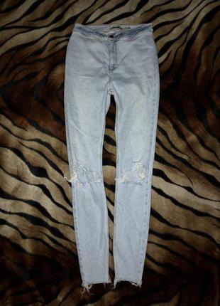 Джинсы скинни / голубые ржаные джинсы / крутые джинсы