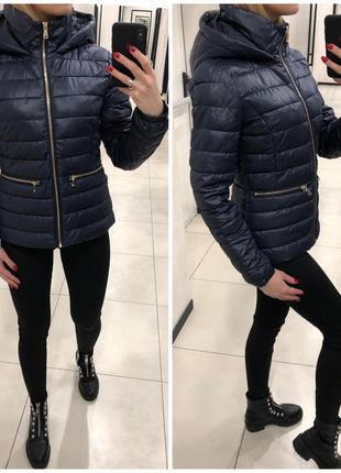Синяя стёганая куртка курточка на синтепоне. mohito. размеры уточняйте.
