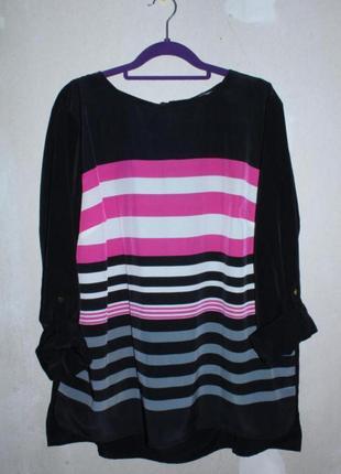 Чёрная шелковая блуза в цветную полоску