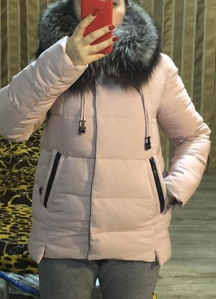 Куртка/пуховик jarius с мехом чернобурки
