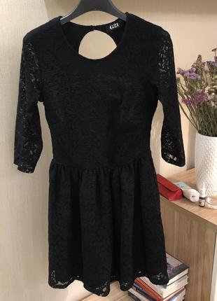 Новое чёрное ажурное платье мини сукня италия george h&m