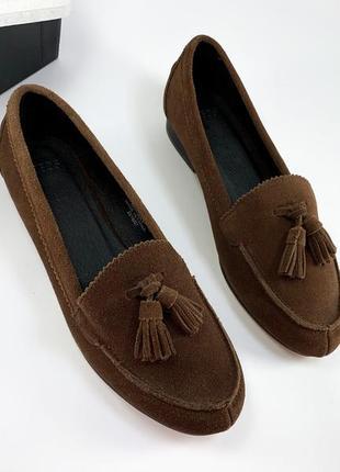 Лоферы женские натуральная замша туфли балетки лодочки с кисточками коричневые новые