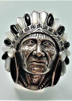 Серебряное  кольцо мужской перстень талисман амулет индеец