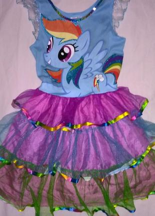Платье май литл пони, рэмбулдеш на 5-6лет