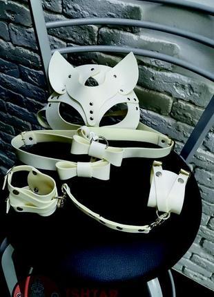 Комплект: маска кошки, гартеры под чулки, наручники из качественной эко кожи