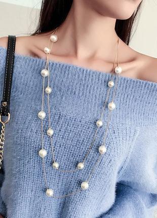 Модное многослойное ожерелье , колье, с жемчугом