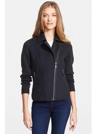 Брендовое серое демисезонное пальто полупальто косуха с карманами unia шерсть