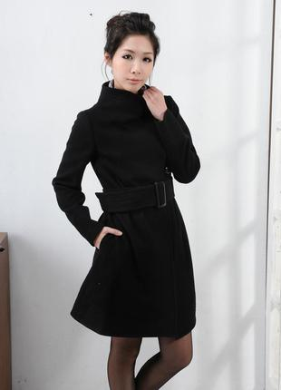 Брендовое черное демисезонное пальто с поясом и карманами dorothy perkins шерсть этикетка