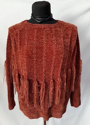 Актуальный🧡велюровый плюшевый свитер реглан оверсайз терракотовый/кирпичный
