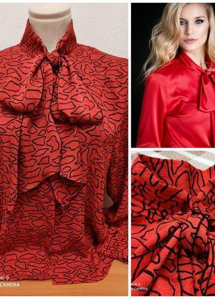 Красивая блузка с воротником-стойкой с бантом/ галстуком karl lagerfeld, p. m/l