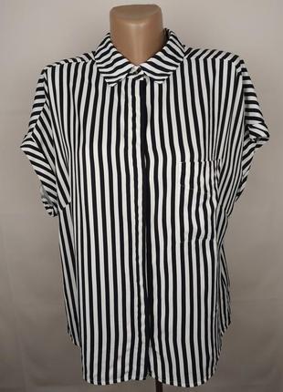 Блуза рубашка вискозная красивая в полоску marks&specner uk 14/42/l