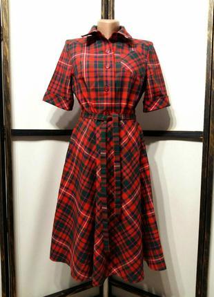 Яркое винтажное платье рубашка в клетку на поясе шерсть в составе