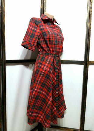 Яркое винтажное платье рубашка в клетку на поясе шерсть в составе2 фото