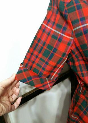 Яркое винтажное платье рубашка в клетку на поясе шерсть в составе3 фото