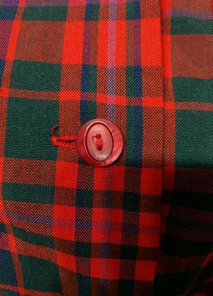 Яркое винтажное платье рубашка в клетку на поясе шерсть в составе5 фото