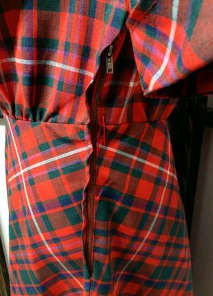 Яркое винтажное платье рубашка в клетку на поясе шерсть в составе6 фото