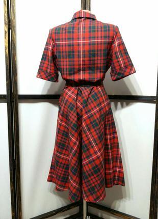 Яркое винтажное платье рубашка в клетку на поясе шерсть в составе7 фото