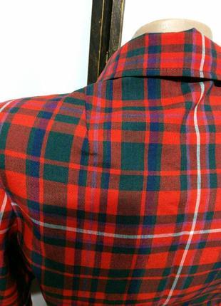 Яркое винтажное платье рубашка в клетку на поясе шерсть в составе8 фото