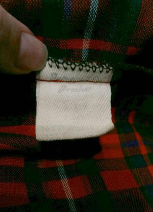 Яркое винтажное платье рубашка в клетку на поясе шерсть в составе9 фото