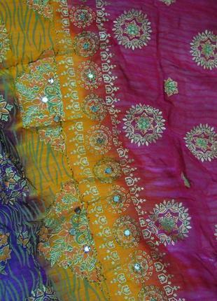Индийская шаль с блок принтом и вышивкой, палантин, этно, бохо, хиппи