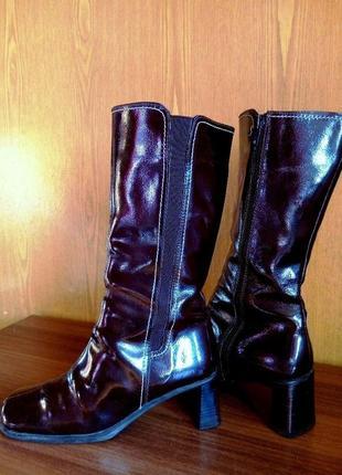Качественные сапоги германия демисезон, средний каблук, голенища с резинкой