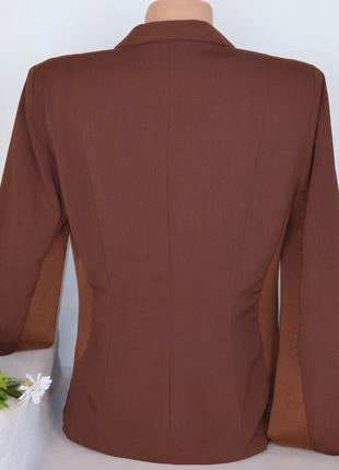 Брендовый коричневый пиджак жакет блейзер с карманами object этикетка3 фото