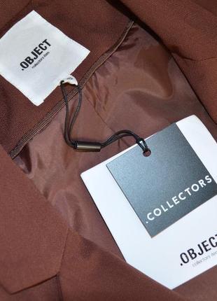 Брендовый коричневый пиджак жакет блейзер с карманами object этикетка4 фото