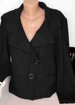 Брендовый черный пиджак жакет полупальто с карманами c.m.d шерсть вискоза