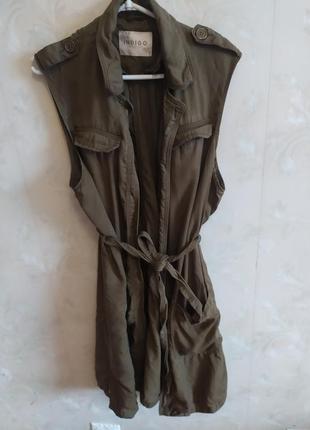 Туника  кардиган накидка цвета хаки в сафари стиле с поясом